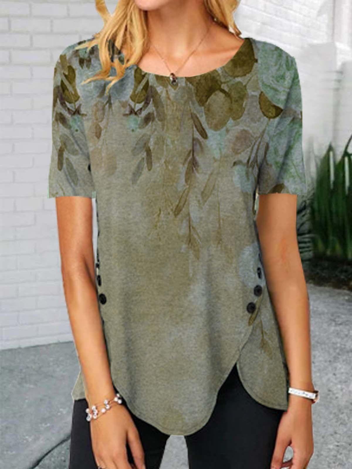 Floral  Short Sleeve  Printed Cotton-blend  Crew Neck Casual  Summer  Khaki Top