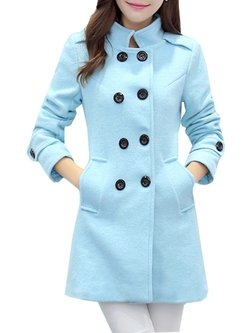 Women's Wool Blend Coat Candy Color Double Breasted Pea Coat