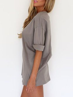 Gray Crew Neck Solid Casual Half Sleeve Casual Dress