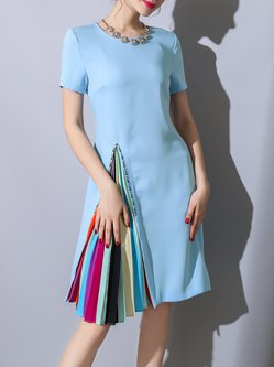 Pleated Beaded Color-block Elegant Dress