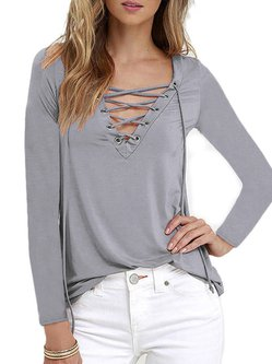 Casual Long Sleeve V Neck H-line T-Shirt