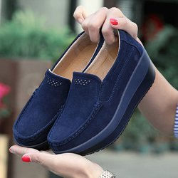 Women's Shoes Breathable Platform PU Casual Loafers