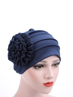 Comfortable Cotton Side Paste Flower Beanies Cap Bonnet Stretch Hat
