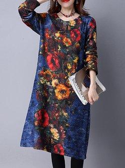 Retro Floral Printed Fleece-lined Long Sleeve Dress