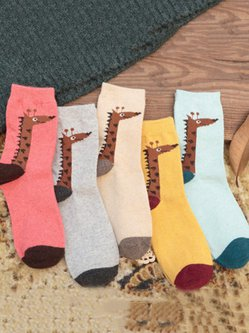 Giraffe Printed Casual Women Thicken Socks