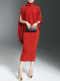 Red Solid Turtle Neck Two Piece Elegant Dress