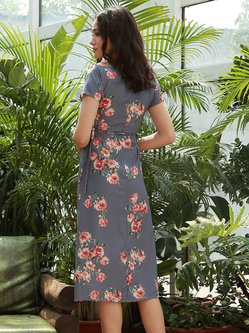 Gracious Hostess Gray Slit Floral Wrap Front Dress