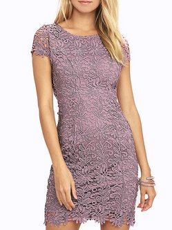 Purple Guipure lace Sexy Bodycon Mini Dress