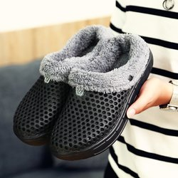 Large Size Unisex Hollow Out Fleece Lined Slippers