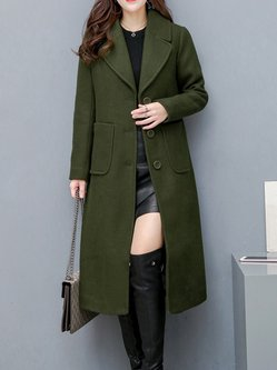 Women's Solid Wool Blend Lapel Long Coat