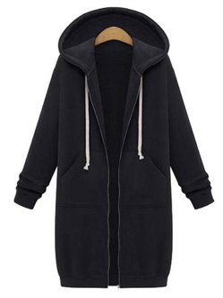 Zipper Pocket Hoodie Casual Warm Coat