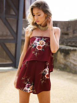 Off Shoulder Floral-print Strapless Sleeveless Romper