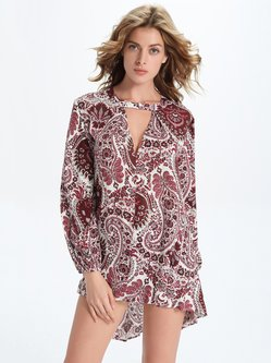 Burgundy Keyhole High Low Tribal Printed Tunic Top