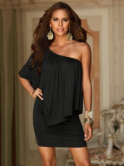 Asymmetric Off Shoulder Batwing Solid Dress