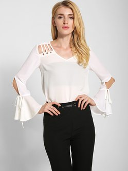 Cutout Trumpet Sleeve Chiffon Statement Blouse