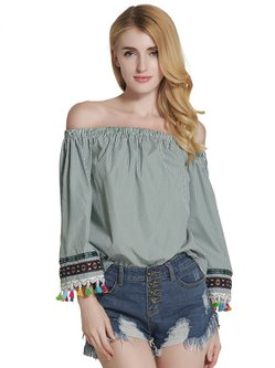 Tassel Stripes 3/4 Sleeve Polyester Off Shoulder Top