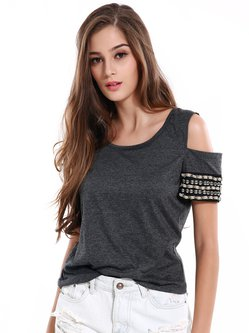 Gray Crew Neck Beaded Cold Shoulder Top