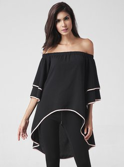 Black Off Shoulder Binding Solid High Low Tunic Top