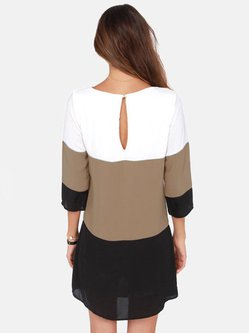 Brown Color-block 3/4 Sleeve H-line Mini Dress