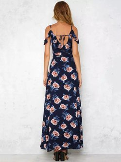 Boho Spaghetti A-line Floral Slit Dress