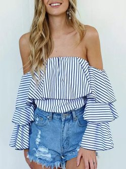 White Casual Frill Sleeve Stripes Off Shoulder Top