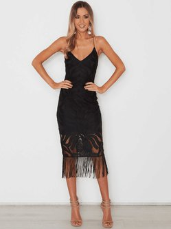 Black Solid Spaghetti Plunging Neck Fringed Bodycon Midi Dress