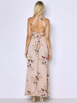 Halter Sleeveless Beach Floral Print Split Backless Maxi Dress