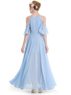 Light Blue Frill Sleeve Cold Shoulder Solid Dress