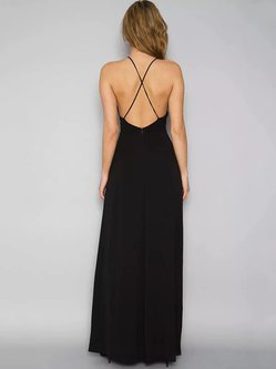 A-line Floral Halter Spaghetti Appliqued Sexy Backless Maxi Dress