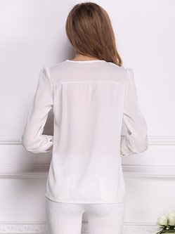 White V Neck Metal Embellished Long Sleeve Blouse