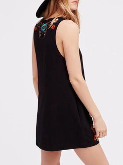 Black Sleeveless V Neck Embroidered Dress
