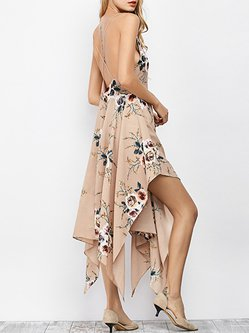 Apricot Spaghetti Backless Asymmetrical Boho Dress