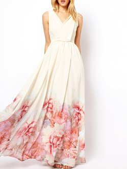 White Sleeveless Surplice Neck Floral Swing Boho Dress