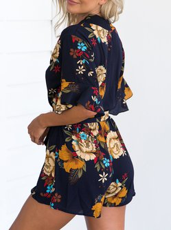 Dark Blue Surplice Neck Half Sleeve Floral Romper with Belt