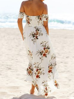 White Floral-print Off Shoulder Shirred Boho Dress