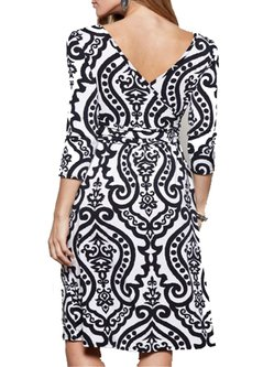 Black Printed 3/4 Sleeve V Neck Dress