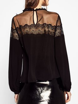 Black Long Sleeve Mesh Paneled Blouse