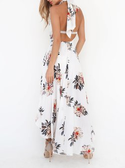 Feel the Magic White Floral Halter Dress