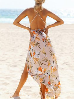 Strappy Love Apricot Plunging Slit Dress