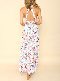 Spinning Round White Cutout Back Asymmetrical Dress