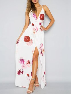 Luxe For Days Floral Slit Swing Chiffon Dress
