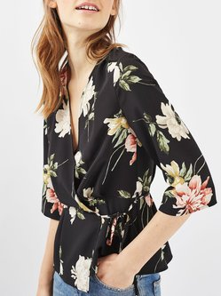 Free as Dove Black Floral-print Wrap Blouse