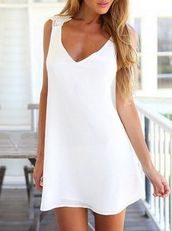 White Cross Back Girly V Neck Dress