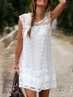 White Lace Geometric Sleeveless Dress