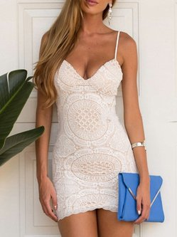 White Spaghetti Bodycon Lace Dress