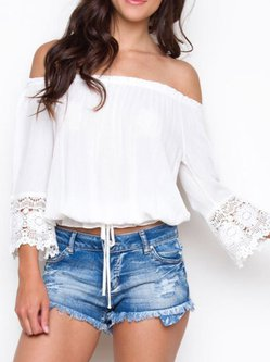 White Viscose 3/4 Sleeve Off Shoulder Top