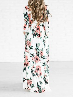 Long Sleeve A-line Crew Neck Floral Maxi Dress