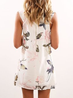 White Sleeveless Floral-print Summer Dress