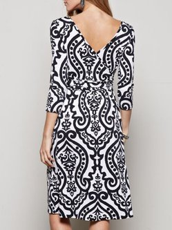Black-white Surplice Neck Elegant Modest Dress