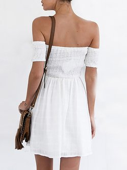 White A-line Off Shoulder Shirred Dress